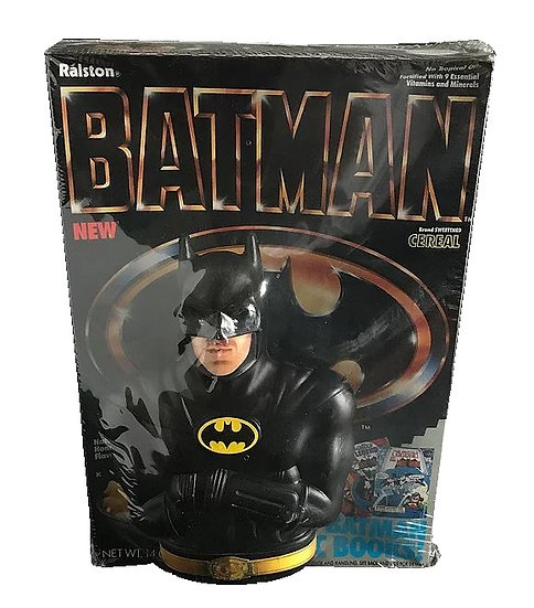 1989 Ralston Batman Cereal Box And Batman Coin Bank Inside Mint Shrink Wrapped