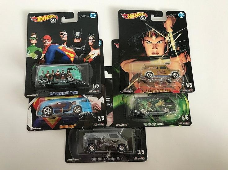 Hot Wheels 50th anniversary  DC Super Hero Set Of 5 - Asst. DLC45 New Sealed