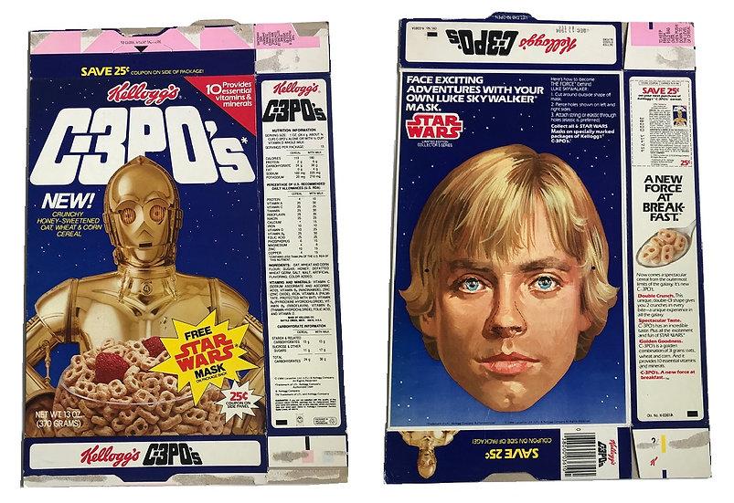1984 Vintage Kellogg's C-3PO's Collectible Cereal Box