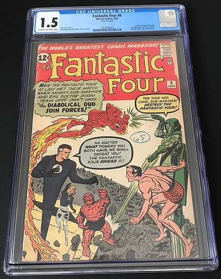Fantastic Four (1961 1st Series) #6 CGC 1.5 Cream to OW Pages. Detached Cover.