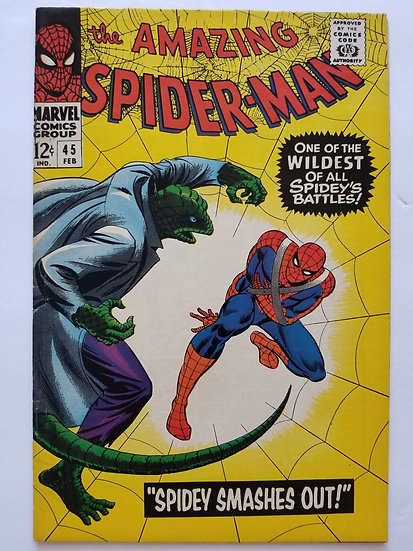 Amazing Spider-Man 45 is FN/VF condition. 3rd appearance of Lizard .
