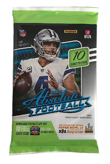 NFL Panini 2020 Absolute Football 10 Trading Card Value Pack