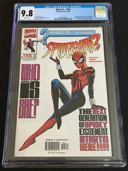 What If 105 CGC 9.8 White Pages [Origin & 1st appearance of Spider-Girl]