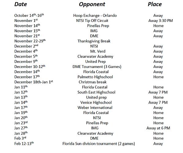 Prep Schedule