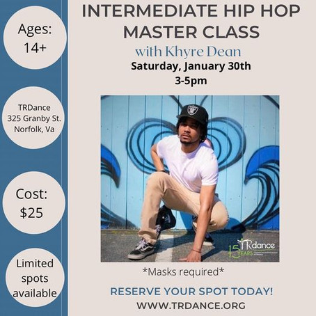 Hip Hop Master Class - THIS SATURDAY!!!