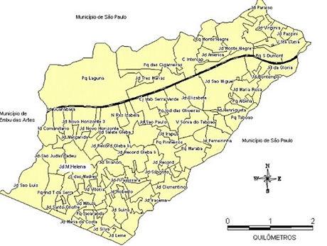 Mapa Bairros de Taboão da Serra