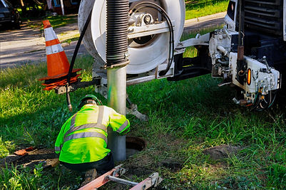 Cleaning the sewer system special equipment on utility service in the town..jpg
