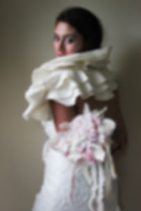 White bridal boa and bridal nuno felt bouquet