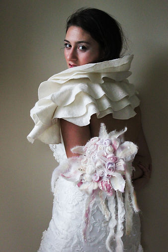 White bridal boa and bridal nuno felt bouquet