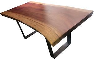mesa de comedor de madera con base metálica de 180x100x9 cm