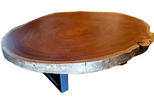 mesa de centro de madera con base metálica de 140 cm de diametro
