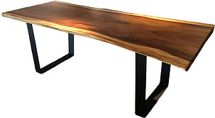 mesa de comedor de madera con base de metal 220x100x9 cm