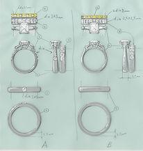 バゲットカットの婚約指輪結婚指輪.jpg