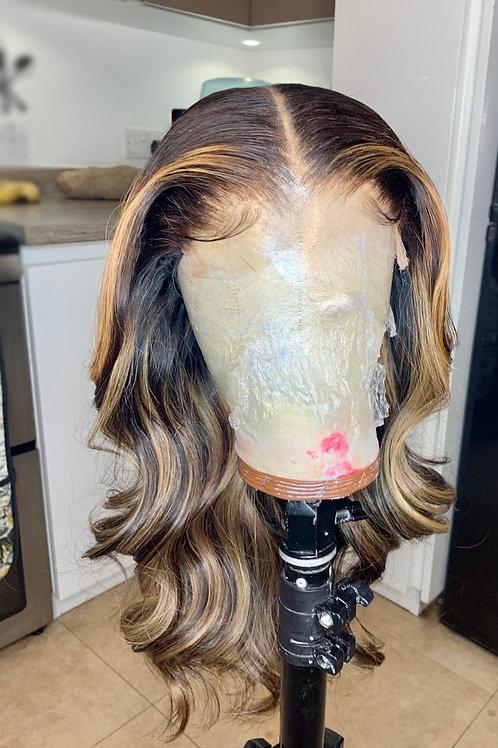 Feather birthmark highlight and lowlight wig