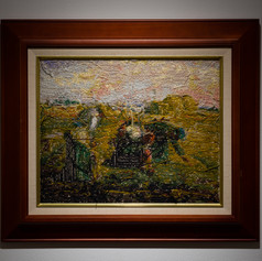 """<< Embroidery picture of someone's grandmother who died in recent years / Millet """"The Gleaners"""" >> 2019, (Aomori) Needle and thread《 近年亡くなった誰かのおばあちゃんの刺繍画/ ミレー『落穂拾い』 》 2019、(青森) 針と糸"""