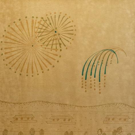 """遠藤が街で偶然発見した山下清の肉筆画 協力/ 青森市立 長島小学校  作品《閃光と落下傘》遠藤薫 、2020年提供:青森公立大学 国際芸術センター青森(ACAC) Art works: """"Flash and Parachute""""  ENDO Kaori, 2020, old cloth  Courtesy of: Aomori Contemporary Art Centre (ACAC), Aomori Public University  グループ展『いのちの裂け目ー布が描き出す近代、青森から』展 (青森公立大 国際芸術センター青森)、2020 group show """"The Beginning of Life/ Art: Cloth Weaves Our Times, from Aomori"""" (Aomori Contemporary Art Centre, Aomori Public University)、2020"""