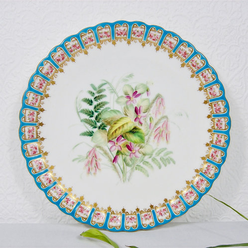 Antique Royal Worcester plate, pattern 7968w with impressed mark, c1885