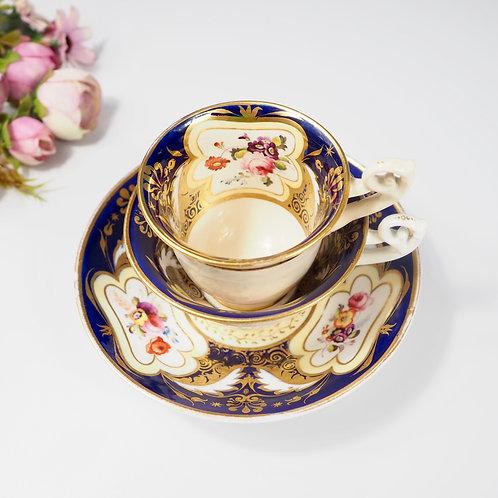H&R Daniel true trio (teacup, coffee cup, saucer) Bell shaped, c1825-1830 #4