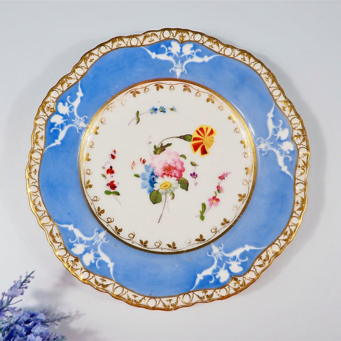 Spode Felspar porcelain moulding plate, hand-painted flowers, c1815-1820