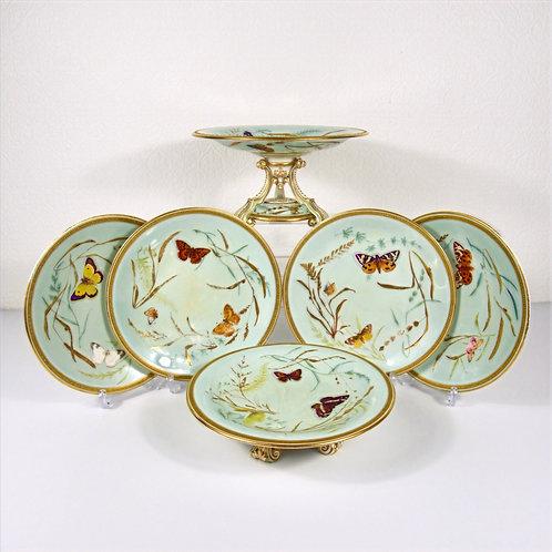 Worcester part dessert service in Butterflies pattern, c1870