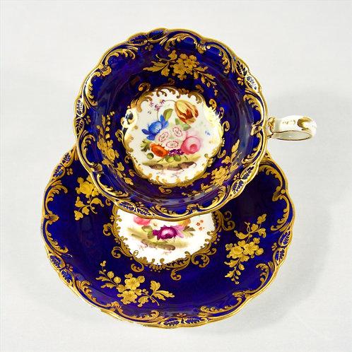 Coalport tea cup, sauce 'Adelaide shape' floral pattern & raised gilding, c1830
