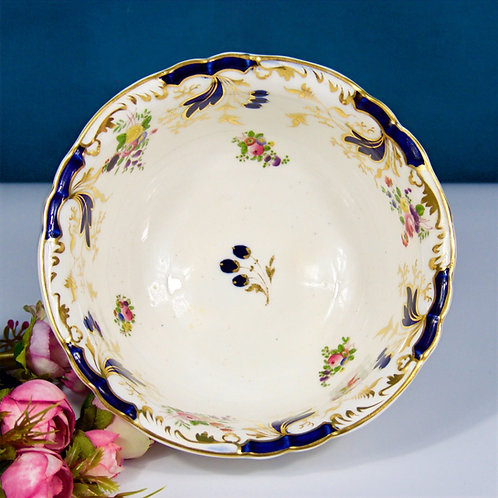 Rockingham slop bowl, hand-painted posies flowers and gild, c1835-1840