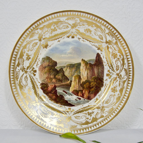 Derby plate, hand painted rural scene in the style of George Robertson c1815-20