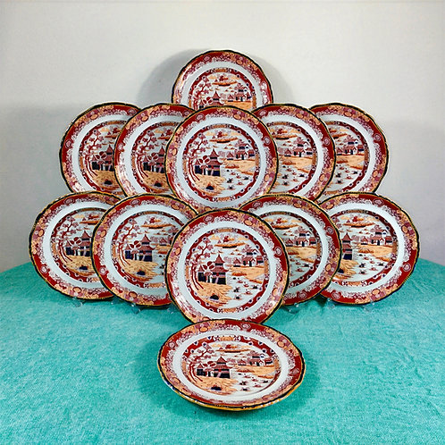 G.L Ashworth? Ridgway Ironstone, Japan pattern, set of 12 dinner plates, c1870