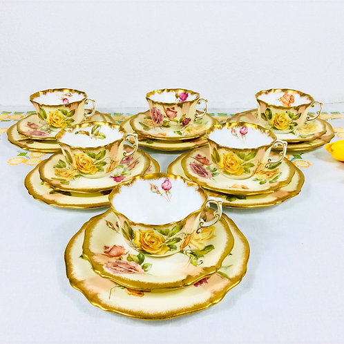 Hammersley part tea service, hand painted English roses, c1912-39