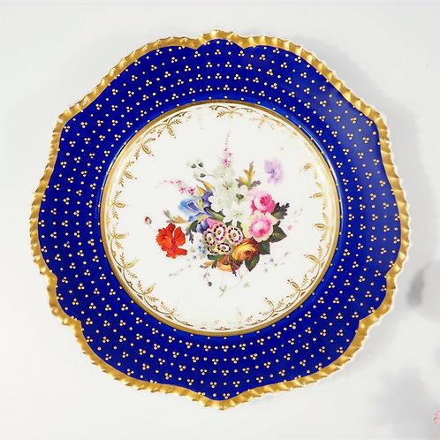 Chamberlain Worcester dessert plate hand-painted, raised gilt dots, c1820-1830