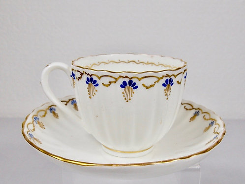 Coalport coffee cup and saucer pattern 6/237 with 20 vertical flutes