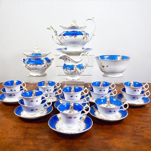 Antique English porcelain part tea service, c1840