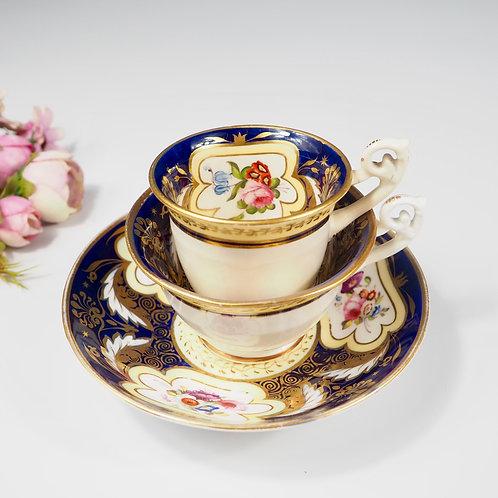 H&R Daniel true trio (teacup, coffee cup, saucer) Bell shaped, c1825-1830 #1