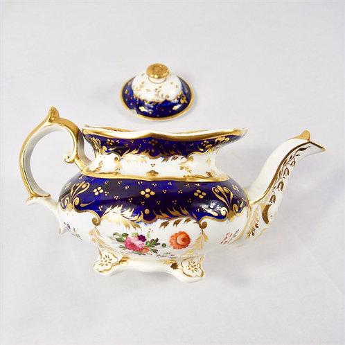 Zachariah Boyle teapot & stand, cobalt blue, hand painted flowers, c1840