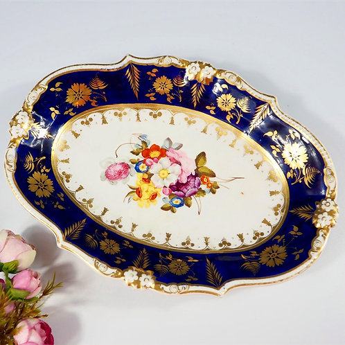 Bloor Derby oval serving dish hand-painted flowers and gilt, c1820-1840