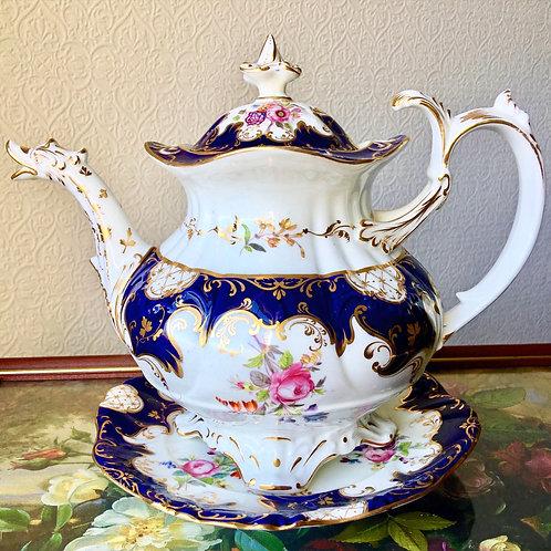 Antique English Porcelain Coalport Duck Spout Teapot