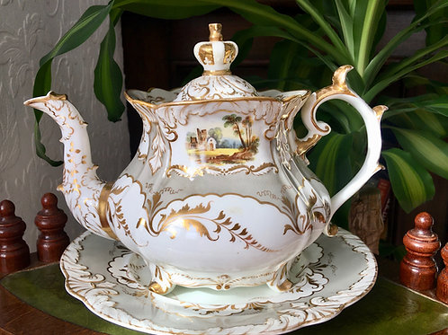 Antique Rockingham Brameld teapot & stand with the crown lid, c1835-40