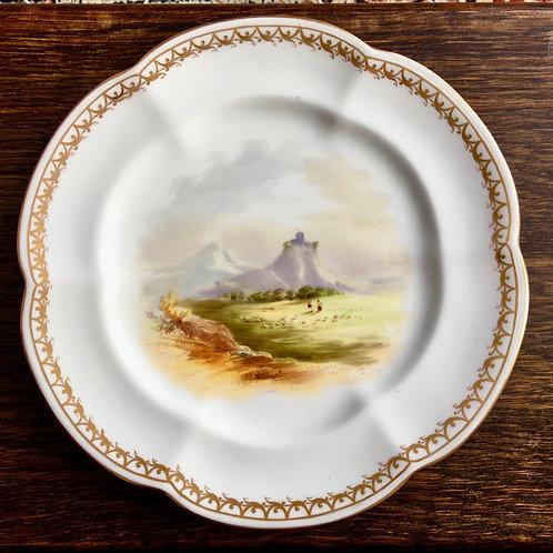 Cabinet plate 6 lobed rim, hand painted landscape, possibly Coalport, c1