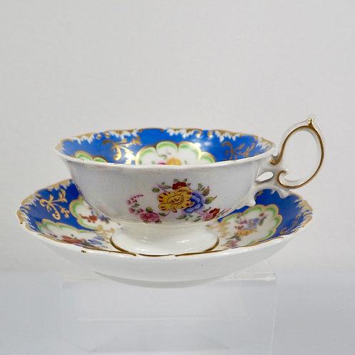 "Minton ""Q shape"" teacup and saucer for London retailer J. Allsup, c1830-1840 #1"