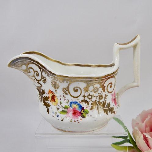 John Yates creamer/milk jug, hand painted flowers, c1825