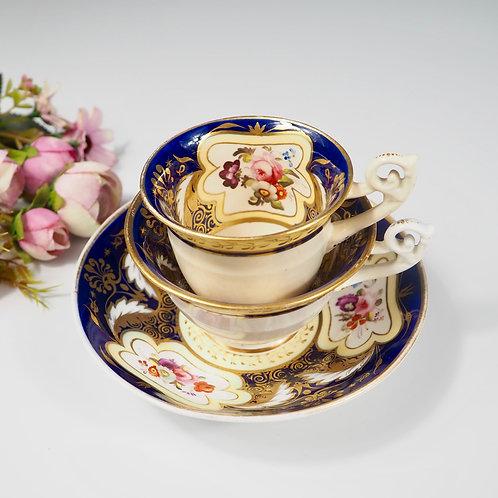 H&R Daniel true trio (teacup, coffee cup, saucer) Bell shaped, c1825-1830 #2