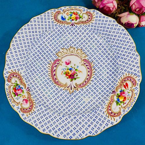 Coalport Regency moulded plate with flowers panels, c1820