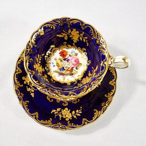 Coalport tea cup, saucer 'Adelaide shape' floral pattern & raised gilding, c1830