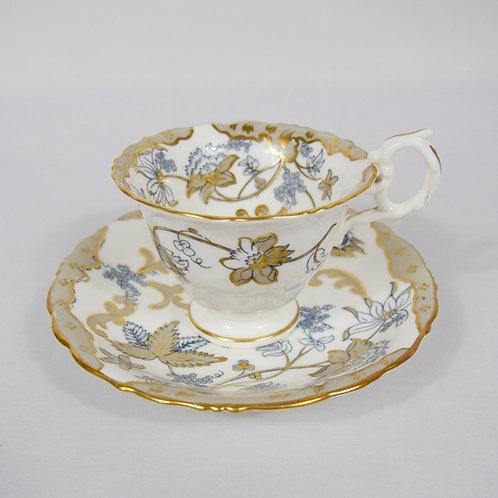 Samuel Alcock Rococo coffee cup & saucer, c1835-1840