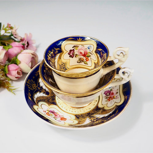H&R Daniel true trio (teacup, coffee cup, saucer) Bell shaped, c1825-1830 #3