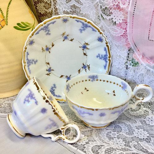 Rare Hilditch Lilac Sprigged, tea cup, coffee cup, saucer, c1830-1840