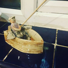 Ceramic fishing rod incense holder