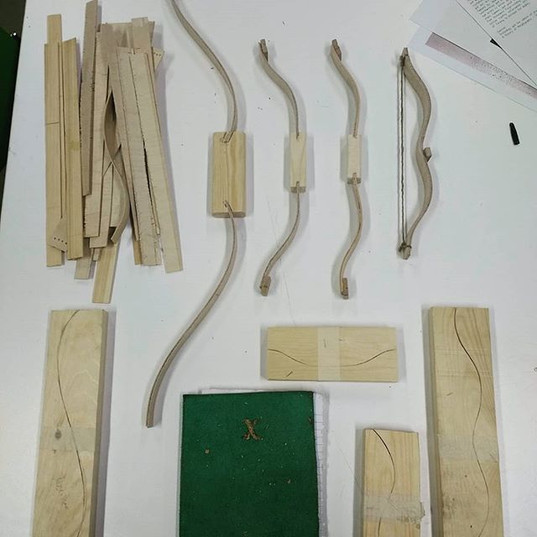 Material experimenting, bows made from laminated bamboo ply.