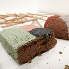 Cob bricks with clay plaster colour tests