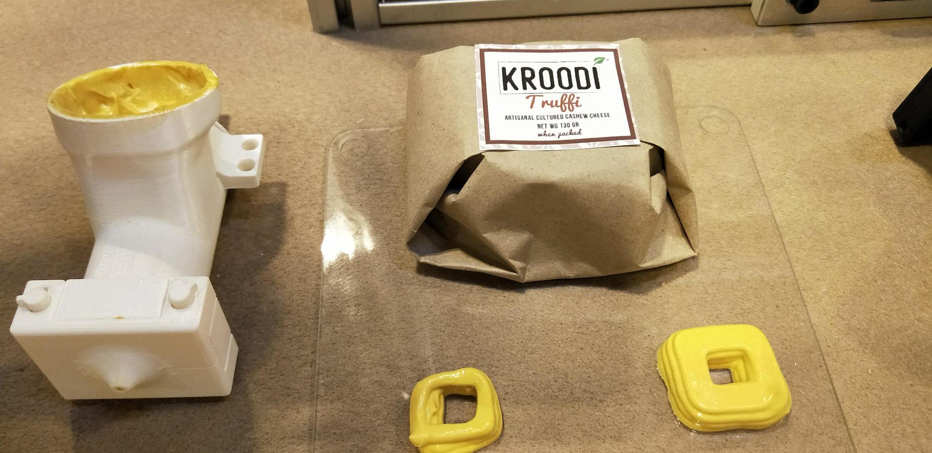 Kroodi Cheese 3D printed as squares